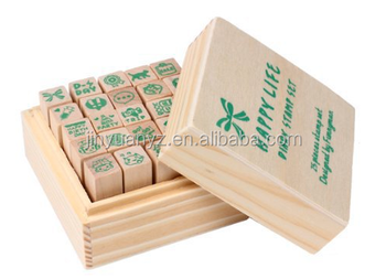 25pcs set Diy Practical Cute Rubber Wooden Box Stamps Diary Decoration