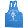 OEM gold print blue color gym tank top for weight lifting