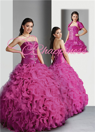 puffy ruffle voilet ball gown with jacket inchado ruffle vestido de baile voilet con chaqueta