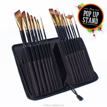Professional Art Supplies 15 Piece Travel Paint Brush Set for Watercolor, Acrylics, Oil & Face Painting with Carry Case