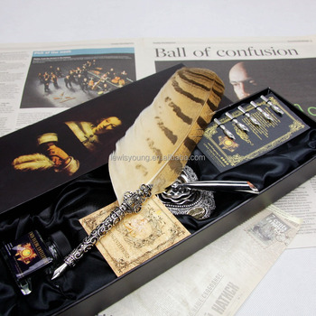 HOT Antique promotional quill feather pen set with ink bottle gift box set