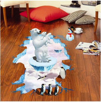 Cheap PVC custom sticker 3d polar bear sticker plastic floor sticker