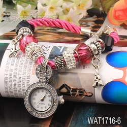 HOT vogue glass beads pendant alloy woven bracelet women dimond coloful watch