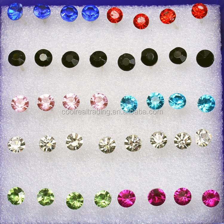 Simple Candy Color Round Ball Rhinestone Stud Earrings for Women Girls Jewelry low price