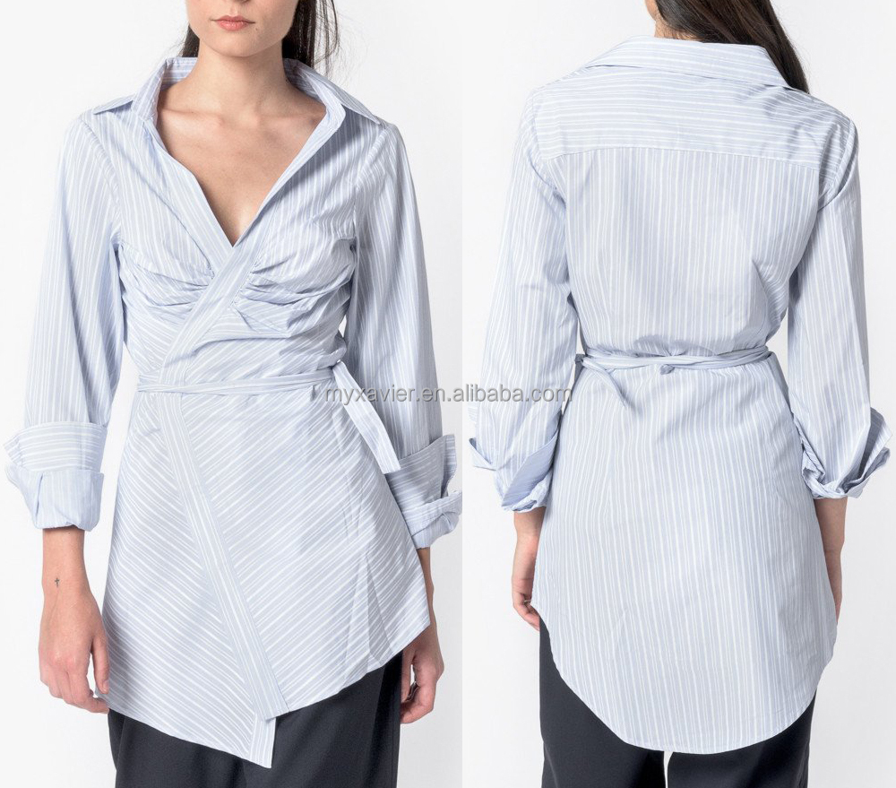 Hot selling products blue stripe tunic-style shirt cross-over front open V-neck women blouse 100% cotton stripe shirts for women