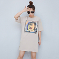 T-shirt dress short sleeve pictures custom print fat loose women dress