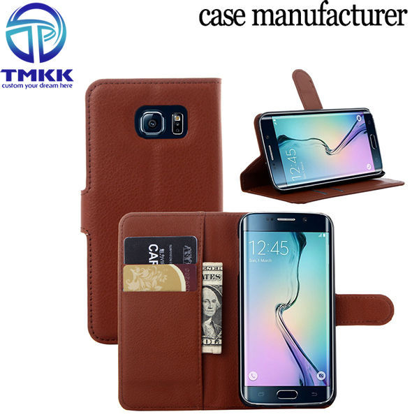 S6E001 Lithi Pattern Mobile Phone PU Leather Flip Case for Samsung Galaxy S6 Edge