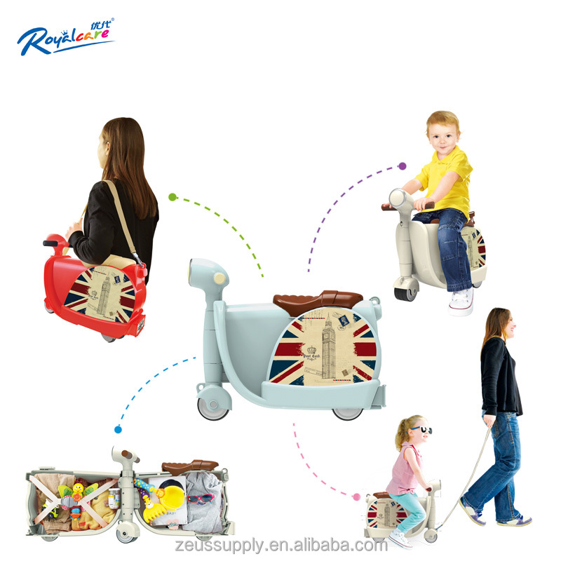 2017 New children ride on luggage with storage case 822-217