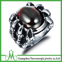 Charm stainless steel eagle claw catching zircon rings punk style jewelry