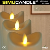 Party Decorative LED pillar candle with moving flame and USA, EU patent