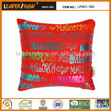 English letters back printed outdoor swing cushion canopy with polystyrene micro beads filling