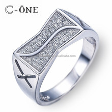 Special Design Wide Quality Cubic Zirconia Men Rings with Wax Paved Setting