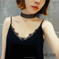 CURVE Lace Choker Necklace with pearl charm
