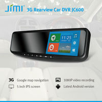 JiMi 2014 New 3G Smart Rearview Mirror DVR doubl dual sim android gps mobile phone in care camera hd dvr