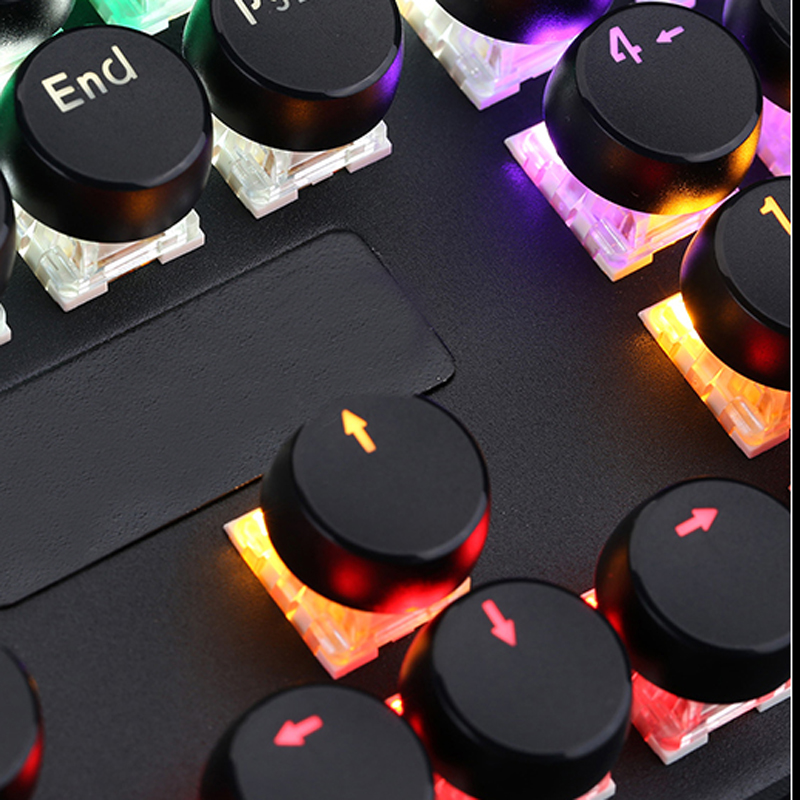 High-end 7 color mix Rainbow light Mechanical keyboard 108 Typewriter Retro keys Round keycaps gaming keyboard MKSJ-1505-2