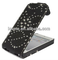 case for BLACK GLITTER DIAMOND PU LEATHER CASE COVER POUCH FOR APPLE IPHONE 5 5G BY MOBILE_MANIA