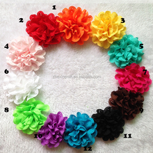 Stock Solid color chiffon mesh flower for baby hair head band handmade wrapping flower