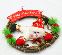 Snowman Decorated Hanging Santa Claus Christmas Door Wreath Christmas Garland with Merry Christmas for Home Ornament