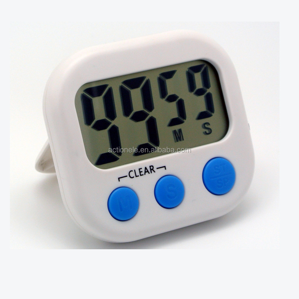 "Portable Big Digit Mini Digital Home Kitchen Countup Countdown Timer 99""59"" Day Hour Minute Second Daily Weekly Timer Magnet"