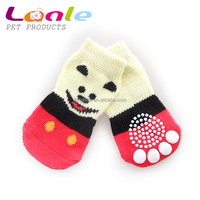 Lanle high quality pet shoe socks for dogs cats for wholesale,knitting dog socks lovely pattern hot dog socks