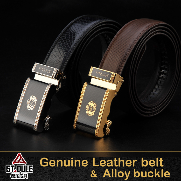black or brown color cow split leather belt which 35mm gold or nickle alloy automaic black carbon fiber enamel OEM buckle