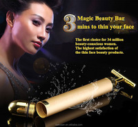 24K Gold T Shape Bar Home Use Electric Facial Massager