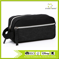 Black Canvas Fabric Cosmetic Travel Toiletries Pouch Bag with Zippers