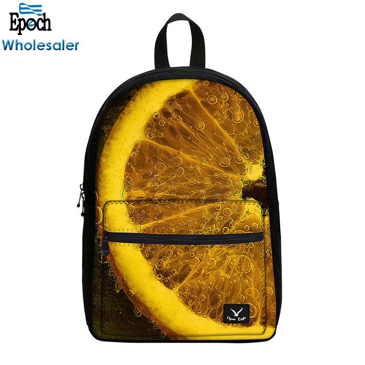 Alibaba China hot sale fresh fruits printing school bag factory,design you own school bag