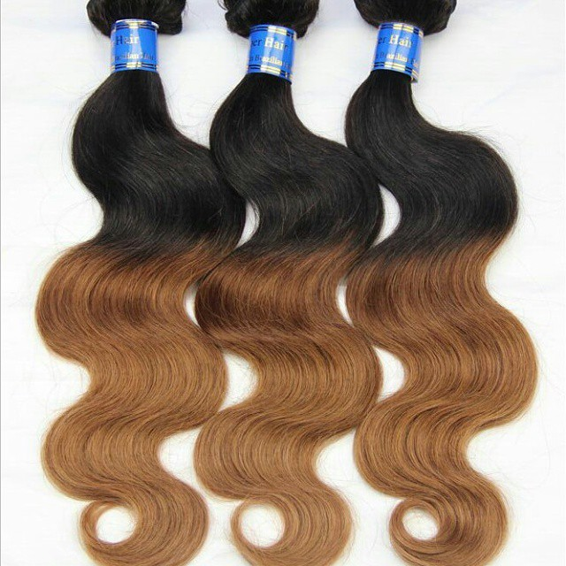 100% Human Hair Brazilian Body Wave Ombre Hair Weave Bundles 3 Tone 1b/4/27# Ombre Hair Extension