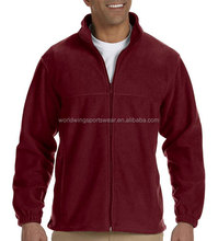 Mens 100% polyester microfleece plain maroon full zip up tracksuit jacket