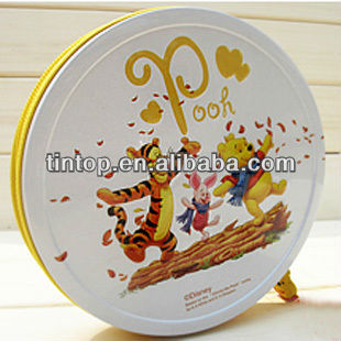 Tintop gift tin box/round tin with coaster style packaging tin / tin case