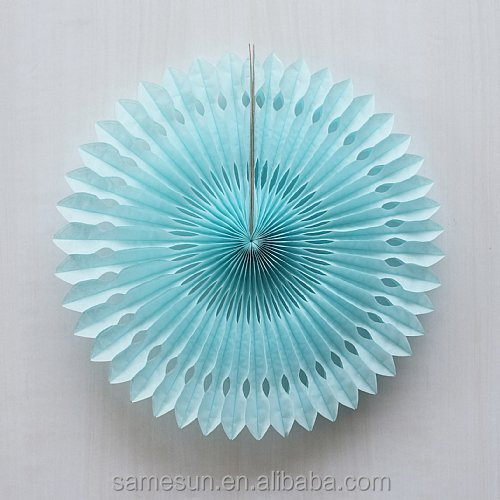 Chinese colorful tissue paper folding fan for wall decoration