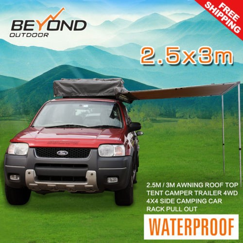 2.5Mx3M AWNING ROOF TOP TENT CAMPER TRAILER 4WD 4X4 CAMPING CAR RACK
