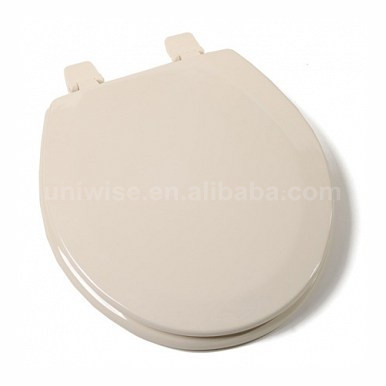Molded Round Wood Toilet Seat soft close hinges, Bone/White MDF Moulded toilet seat, Molded Round Wood Toilet Seat