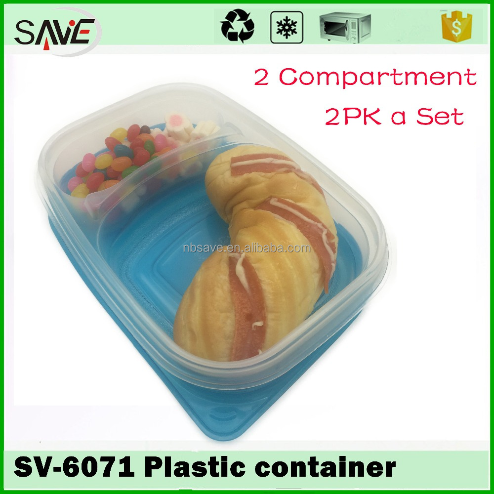 2016 hotsale over safe 2 compartment plastic disposable microwave easy takeaway food container with clear lid