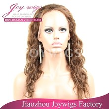 "High quality cheap price 14"" #3 malaysian curly 100% human virgin hair fashion front lace wig"