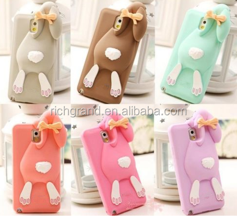New 3D Cute Rabbit Soft Silicone Back Case Cover for Samsung Galaxy S4 S5 S6 NOTE3