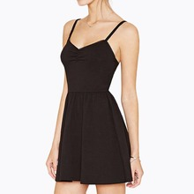 Z91974A Sexy Women Fashion Without Sleeves Dress Short Spaghetti Strap Black Ladies Dress