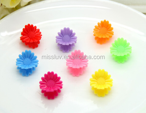 lovely children plastic sunflower hair claw clips cute kids candy color cartoon hair claw clips cheap baby hair accessories gift