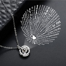Fashion Jewelry 100 idiomas te amo colgante Roman Numerals Circle Pendant 100 Languages I Love You Projection Necklaces