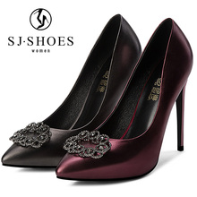 A0357 2018 latest new design sexy rhinestone wine colored shoes evening high heels