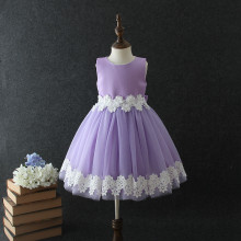 Hot fashion design small girls dress India & Pakistan Clothing purple flower fuffly lace wedding dress for 3 Years old