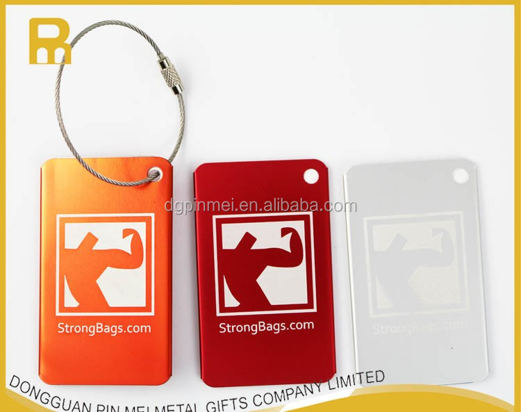 2017 most popular metal aluminum luggage tag engraved with PVC card
