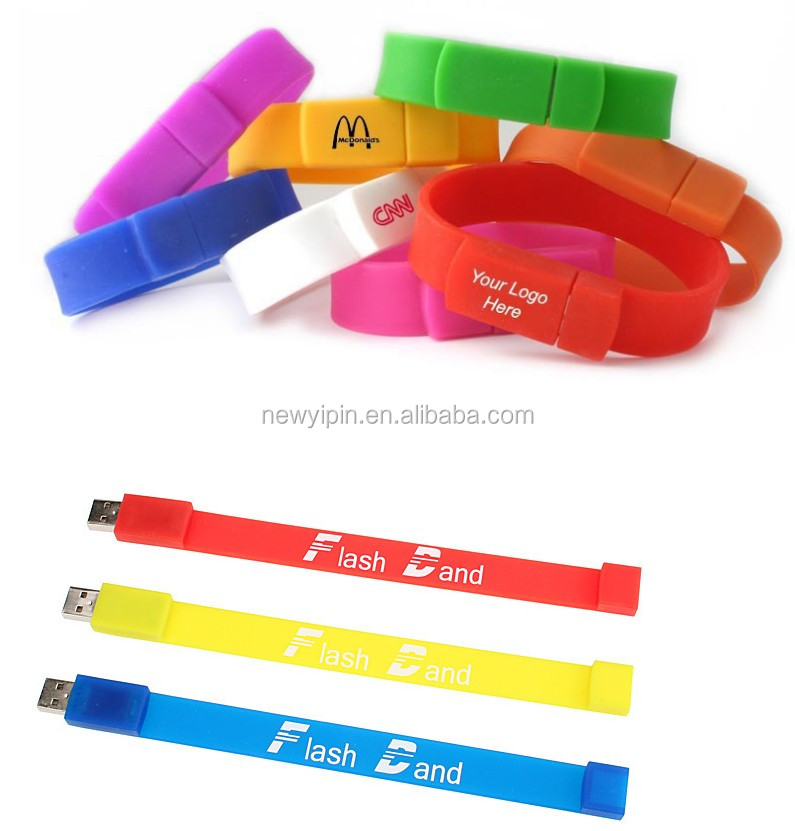 Cheap custom factory directly 1-128gb silicone wristband / bracelet / rubber band USB 2.0 flash drive for promotion gift