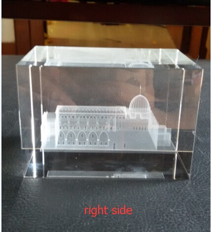 Clear Crystal 3D Laser Engravingal Al Aqsa Mosque wholesale Islamic Gifts