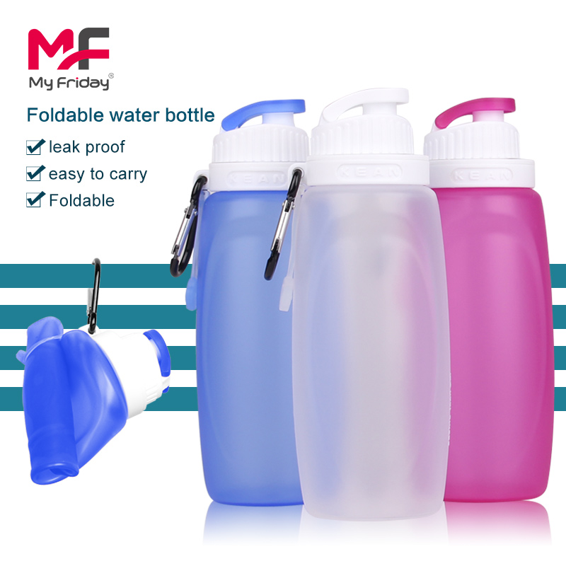 China manufacturer custom logo foldable food grade silicone hands free water bottle
