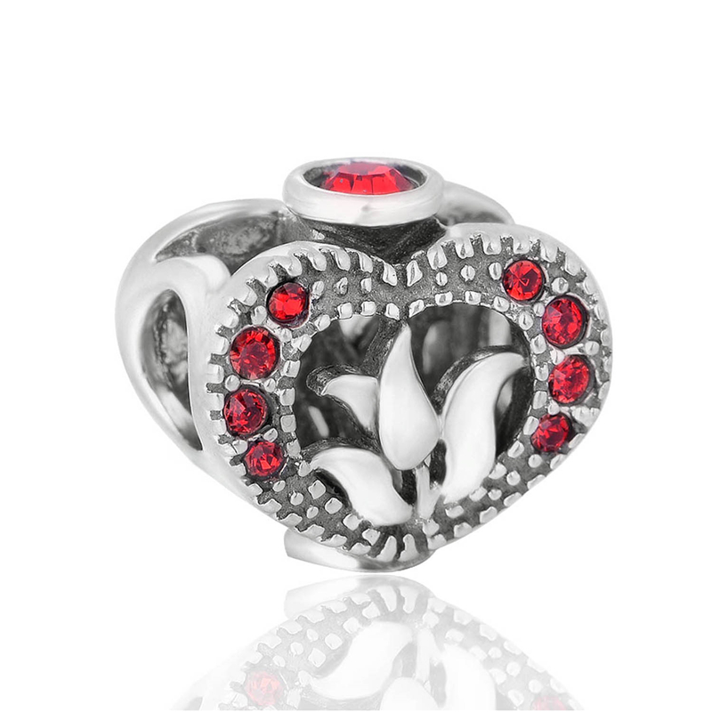Fashion 925 Sterling Silver Beads Heart Engraving Charms