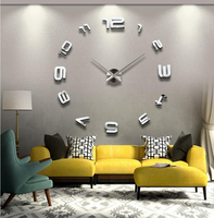 DIY Large Wall Clock 3D Acrylic Sticker Home Office Decor 3D Wall Clock Big Size