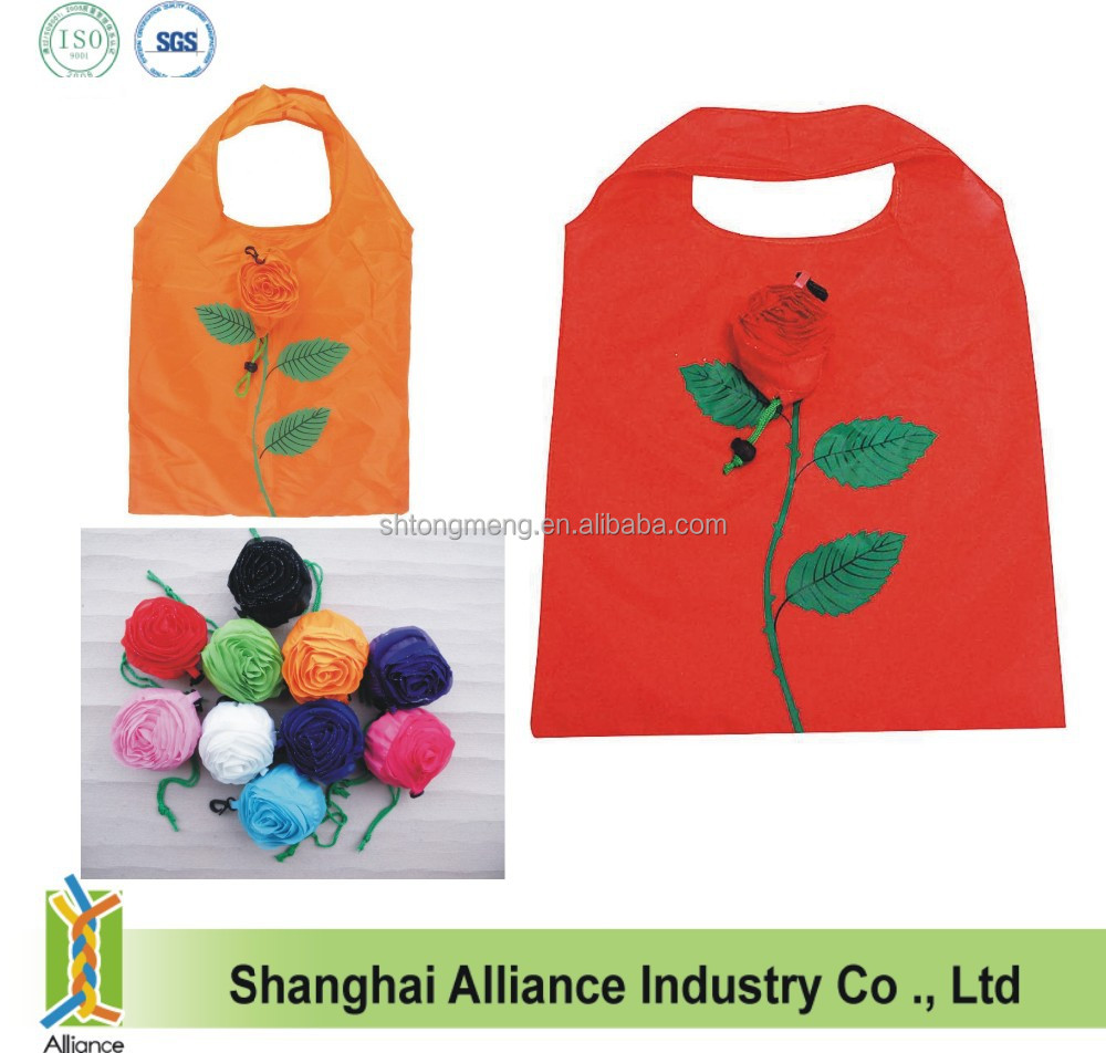 Quality Flower Reusable Shopping Bag Folding Nylon Bag/Rose Shape Folding Shopping Bag