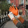 NMsafey 10g polycotton orange rubber latex construction safety gloves